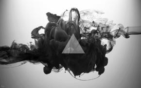 монохром, дым, треугольник, цифровое искусство, абстрактные