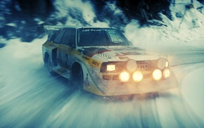 lights, old car, rally cars, snow, sports, audi quattro