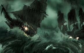 ships, storm, wind, fantasy, waves