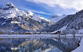 озеро, снег, пейзаж, горы