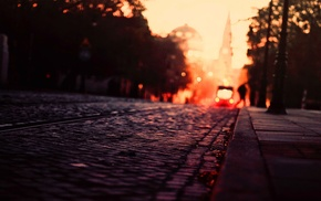 city, warm colors, urban, fall, cobblestone, road
