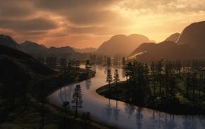 закат, Река, пейзаж, природа