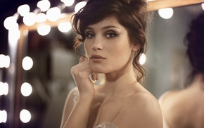 actress, Gemma Arterton, celebrity, girl, brunette, bare shoulders