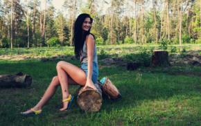 nature, girl, jean shorts, dark hair, printed shirts, flip flops