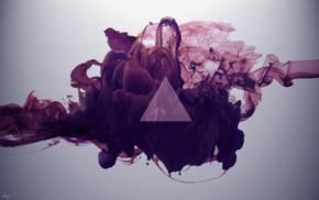 треугольник, абстрактные, фиолетовый, дым