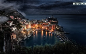 Italy, sea, Liguria, lights, Vernazza, cityscape