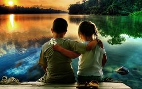 flowers, lake, children, stunner