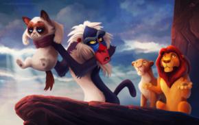 The Lion King, Grumpy Cat, Rafiki, soft shading, humor, cat