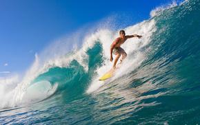 summer, waves, water, ocean, surfing