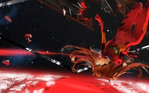 EVA Unit 02, multiple display, anime, space, Asuka Langley Soryu, anime girls