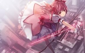 короткие волосы, розовые волосы, луки, юбка, девушки из аниме