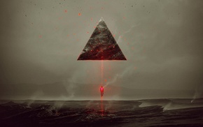 artwork, pyramid, sea, paint splatter, Kuldar Leement