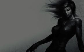 девушка, рисунок, темно, монохром, серый