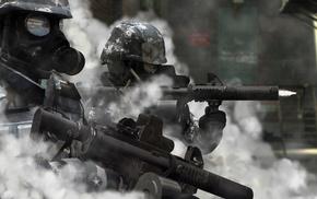 гильзы, оружие, Солдаты, винтовки