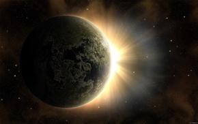 Планета, земля, космос, звезды, солнце, рассвет