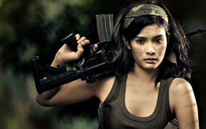 gun, brunette
