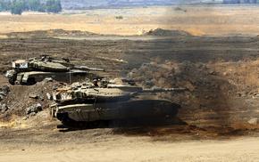 tank, desert, gun, smoke