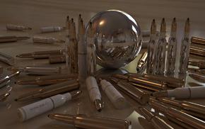 оружие, отражение, пули, блеск, гильзы, Патроны