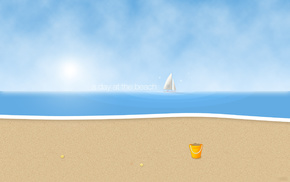 sand, sailfish, beach, minimalism, Sun