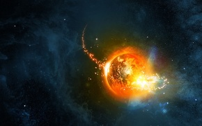 planet, space, stars, Earth, nebula