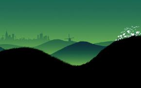 sky, hills, evening, minimalism