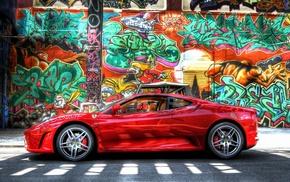 cars, graffiti, wall, Ferrari