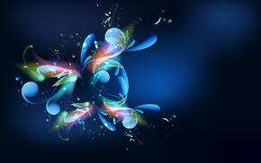 3D, patterns, colors, blue, light