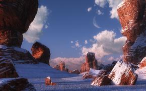 desert, rocks, winter, stones, canyon