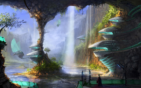 cave, fantasy, city, men, water