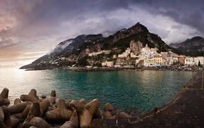 cities, mountain, sea, Italy