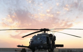 aircraft, helicopter, sky, sunset