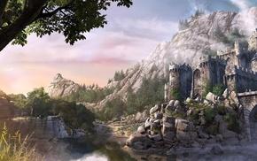 castle, trees, river, fantasy, stones