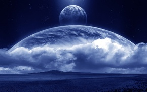 planets, clouds, stars, satellite, space