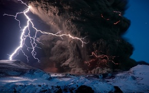 element, nature, lightning, volcano