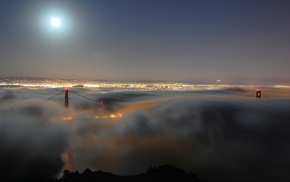 city, moon, night, bridge, evening