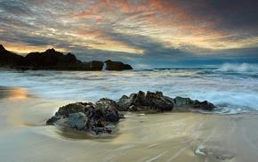 waves, sea, stones, rocks, nature