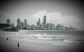 sky, clouds, city, beach, high-rise buildings