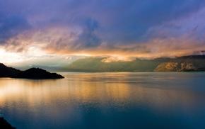 Пейзаж, утро, море, горы, залив, вода