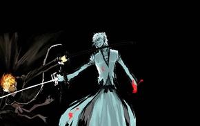 black background, Kurosaki Ichigo, Hollow, sketches, Bleach, fighting