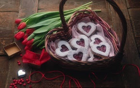 basket, hearts, love