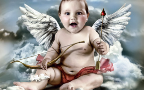 clouds, wings, angel, children