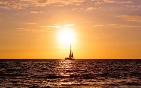 вода, Океан, яхта, море, природа, паруса