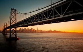 water, bridge, cities, sunset, evening