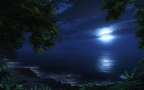 beach, 3D, night, moon