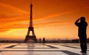 закат, облака, france, paris, города, вечер