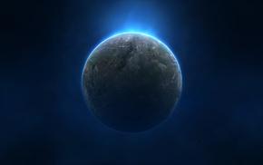 звезды, космос, Планета, синий, туман