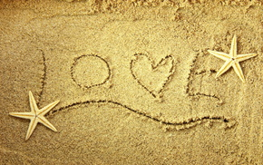 star, sand, heart, love