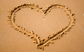 mood, heart, love, nature, sand