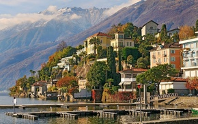 cities, city, Switzerland, embankment, houses