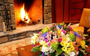 fireplace, bouquet, interior, flowers, design